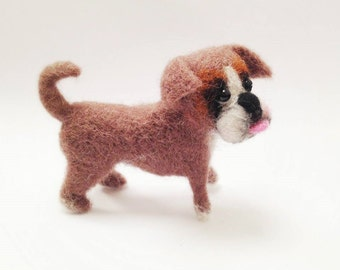 Needle felted dog, Felted dog portait , Puppy dog ,Toys for Blythe doll, Boxer miniature,portrait dog , pets portrait, toy for dolls
