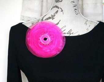 Neon Pink Flower, Big Organza Brooch, Pink Wedding Flower