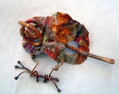 Boho copper shawl pin or hair piece with amazing colors!