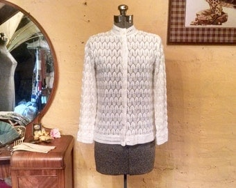 Delicate Snow Blossoms White Pointelle Cardigan S - M