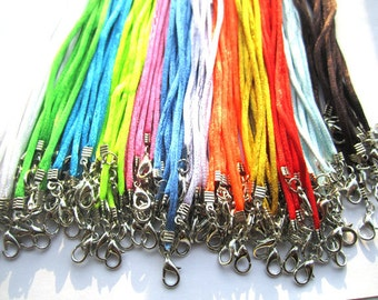 100pcs 18 inch Adjustable mix  color satin necklace cord and velveteen cord necklace with white K lobster clasp v002