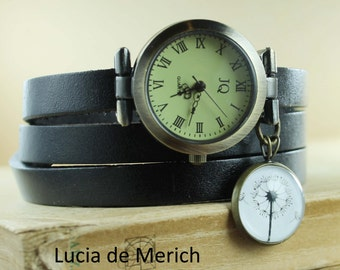 Dandelion - Wrap Watch with Dandelion cabochon -  genuine leather - Coupon code - black friday - cyber monday