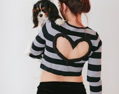 SIZE Medium BLACK/gray  striped Heart Cut out Shirt Upcycled Crop Top