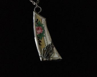 Pink, Green and Black Floral Broken China Necklace