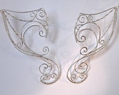 Dramatic Pair of Silver Woven Wire Elf Ear Cuffs, Ethereal, Magical, Renaissance, Elven