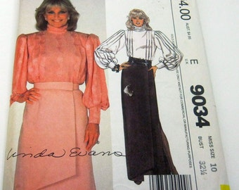 McCalls 9034 Pattern Skirts Size 10 Vintage 1984 Linda Evans Dynasty