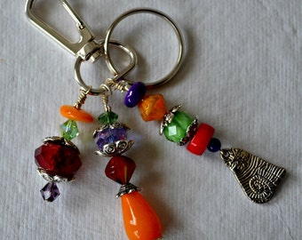 Colorful Beaded Keychain with Cat Charm