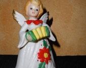Vintage Ceramic Christmas Angel Playing Accordion