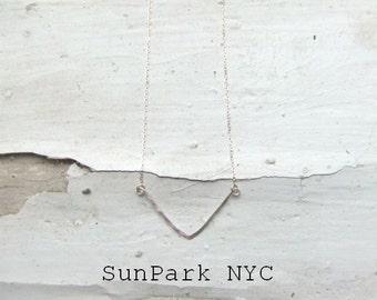 Delicate Hammered Silver Bar Necklace/Hammered Necklace/Sterling Silver Necklace/Geometric Necklace/Handmade Necklace/Dainty Necklace