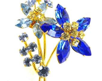 Rhinestone Brooch Signed Austria Flowers High Quality Vintage Jewelry