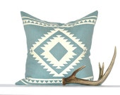 Aztec Border Pillow Cover - Dusty Blue / Off-White