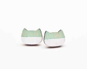 Mint Studs Earring, Cat, Small Earrings, Many color variations