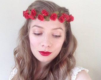 SALE Red Rose Flower Crown - Rustic Weddings Bridal - Ready to ship