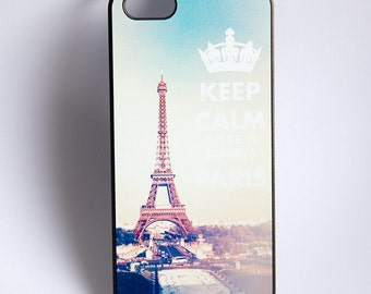 Iphone 5, 5S, Keep Calm there is always Paris text and vintage style shabby chic photo of Eiffel tower, new iphone cover, France