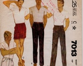 """Vintage 1980 Men's Pleated Pants or Shorts Sewing Pattern, McCall's 7013, Men's Size Waist 30"""" (76cm) Seat 37"""" (94cm),  Free US Shipping"""