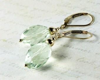 Green Amethyst Earrings, Goldfilled, light green gemstone earrings, fine earrings, dangle, leverback earrings, gift for her, by ALIRA