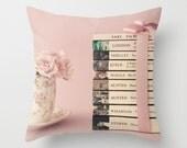 Pillow cover, rose pillow, flower pillow, book pillow, pink pillow, rose quartz, girl nursery decor, book lover, book art,couch pillow