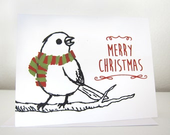 Holiday Bird - Hand Pulled Screen Print Card