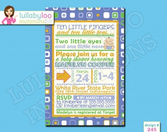 Boy Baby Shower Invitations - Printed Baby Shower Invitations - Custom Invitations