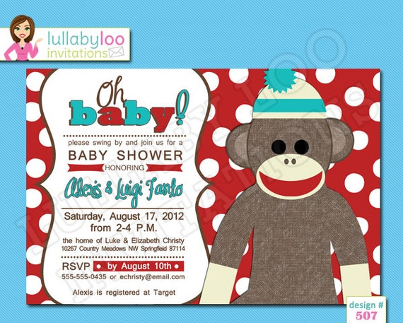 sock monkey baby shower invitations printed baby shower invitations