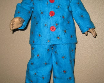 18 inch Doll Clothes American Girl or Boy - Flannel Pajamas, PJs