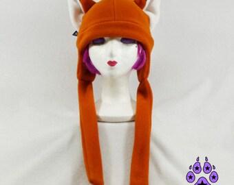 Pawstar FOX HAT EXTRA Warm Fleece Basic You Pick Color Red Orange Brown Gray Black White Arctic Orange Yellow Green Purple Blue Kitsune 1370