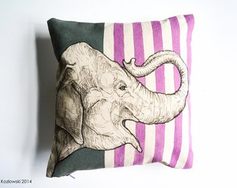 Elephant - Hand Painted Pillow Case - One of a Kind