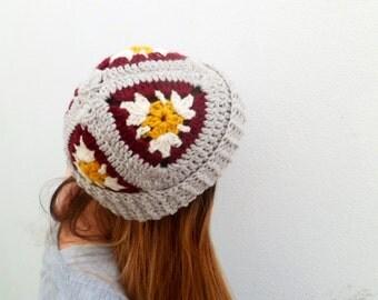 Free shipping // Crochet granny square beanie // Warm winter hat // Grey toque // Women accessories // Handmade crochet beanie