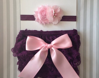 Baby girls bloomer set-lace bloomer set-purple and pink bloomers-girls lace diaper cover set-photo prop-cake smash-baby shower gift