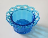 Vintage Imperial Glass Laced Edge or Crocheted Lace Bowl in Antique Blue