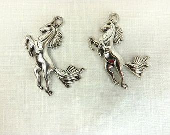 Horse Pendant equestrian wild horse craft supply silver metal animal charms jewelry supply rearing horse pendant