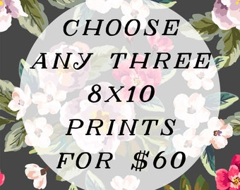 Any three 8x10 prints for 60.00 - discounted price - vintage style photography - nursery room and children's art