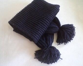 Black Knited Scarf, Pompom Scarf, Scarves, Unisex scarf,  Accessories,  Women neck warmer, Women accessories, fall fashion