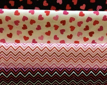 Free Shipping - Mini Hearts - Mini Chevron - Bundle Fabric - Timeless Treasures Fabric - Cotton Fabric - Valentines Fabric - Red Fabric
