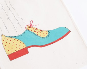Hand Painted Turquoise Brogues - Cotton Shoe Bag