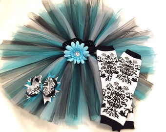 Black, White, and Turquoise Tutu with Black and White Damask Leg Warmers and Matching Hair Bow~ FREE SHIPPING
