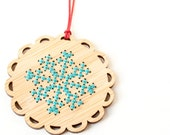 DIY Holiday Ornament Kit - Bamboo Cross Stitch Ornament - Winter Snowflake Pattern