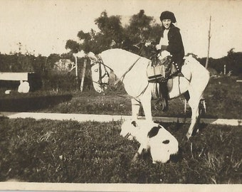 My School Horse - Vintage 1920s Young Equestrian Silver Gelatin Print Photograph