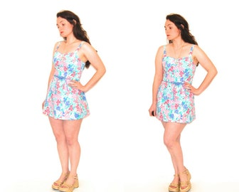 Floral Mini Dress // Vintage Swimsuit Cover Up // Seawaves // size 8