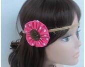 Pink Polka Dot Forehead Headband, Boho Headband, Hemp Headband, Hair Accessories, Hippie Headband, Flower Child Headband, Braided Headband
