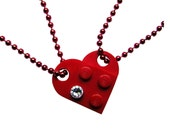 Red 2 piece customizable heart made from 2 LEGO (R) plates with a Diamond color SWAROVSKI crystal on 2 Red ballchains - Best Friends