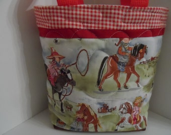 Kids horse tote bag, quilted book bag with padded slip pockets, girls pony purse