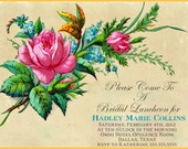Nautical Floral Vintage Classy Pin Up Girl  Invitation- Bachelorette party, Hens night, Lingerie Shower Birthday invite