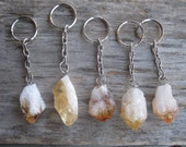 Raw Citrine KeyChain, Citrine Key Chain, Citrine Crystal Point, Natural Quartz, Orange Gemstone, Solar Plexus Chakra, Metaphysical