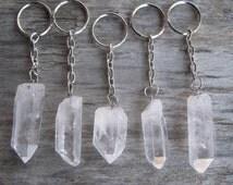 Raw Quartz KeyChain, Quartz Crystal Key Chain, Quartz Crystal Point, Natural Quartz, Gemstone, Chakra Crystal, Metaphysical