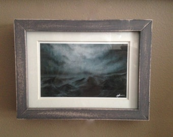 "Small framed GICLEE print in hand distressed frame.""Dreams of Those That Wake"" Antiqued moody abstract landscape"