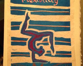 Flexibility 5 x 7 linocut print card