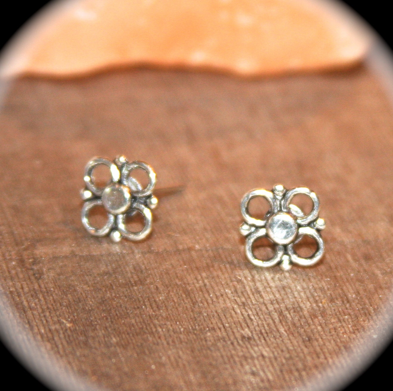 Silver flower stud earrings tiny earrings minimalist for Gemsprouts tiny plant jewelry