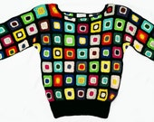 RESERVED for Heather Vintage 80's Hand Crochet French Patchwork Chavenne Sweater