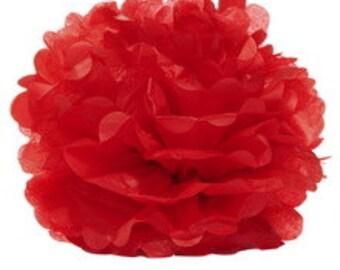 "14"" Red Tissue Paper Pom Poms- Large Paper Flower  Pom- Wedding Decoartion- Baby Shower- Bridal Decor- Hanging Room Paper Pom- Christmas"